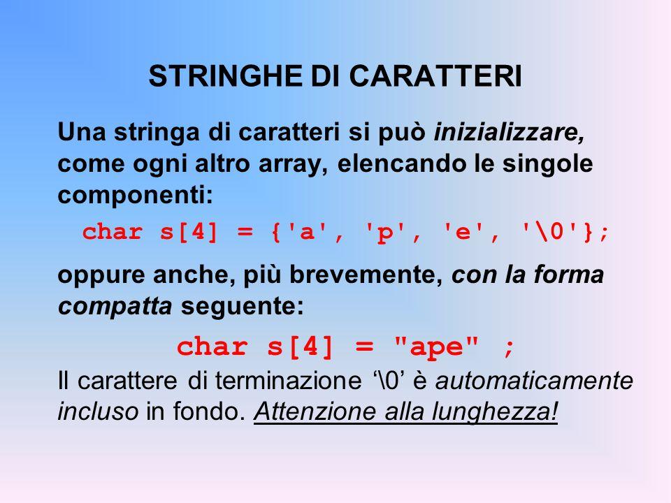 STRINGHE DI CARATTERI char s[4] = ape ;